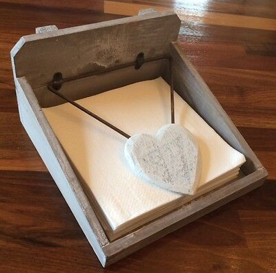 Shabby Chic Rustic Vintage Distressed Wooden Heart Napkin Holder Gift Kitchen