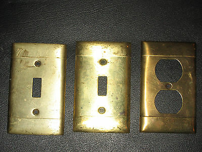 Set of Vtg Solid Brass Single Toggle Switch Plates and Outlet Cover