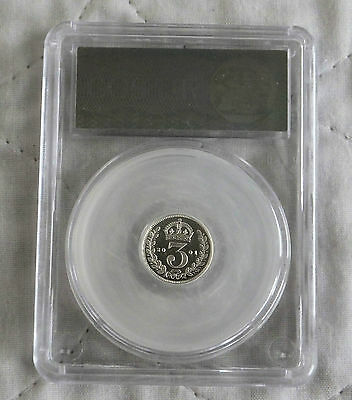 2001 Maundy Silver Proof Three Pence Slabbed Cgs 97