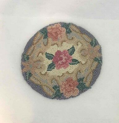 """Round Handmade Chair Cover Floral Rose Rosette Punched Dollhouse Accent Rug 14"""""""