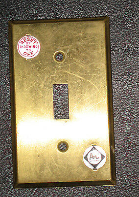 Set of 5 Vtg Solid Brass Single Toggle Switch Plates, Art Supply