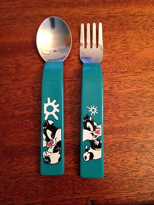 Baby Looney Tunes Fork and Spoon Silverware Set- Used