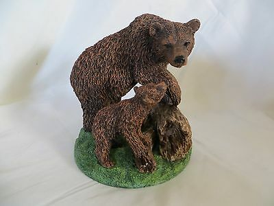 Brown Bear Resin Figurine Mother with Cub