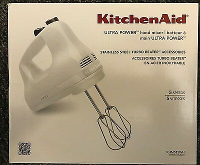 Kitchenaid KHM512WH 5 Speed Ultra Power Hand Mixer (White) - BRAND NEW!!!