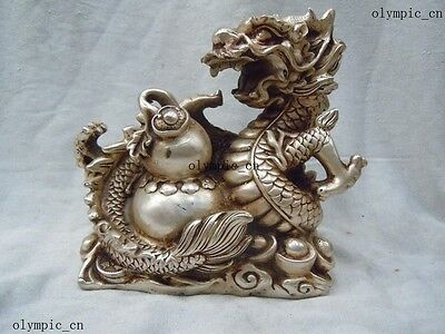 """6"""" China silver carved finely dragon play bead Sculpture statue"""