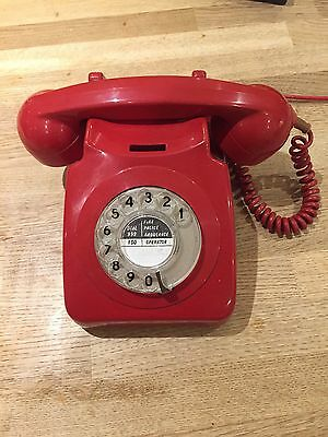 Retro Vintage 1970's GPO 746 Rotary Dial Red Telephone