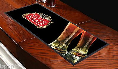 Personalised Beer Label Bar Towel - ANY NAME TEXT Pub Runner Cocktail Party Mat