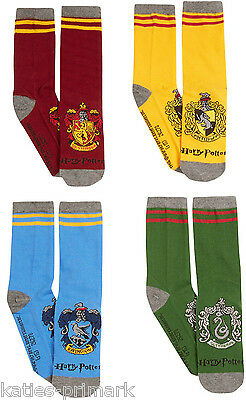 Primark Ladies Girls Hogwarts House Crest Harry Potter 4 Pack Crew Socks