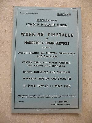 BR London Midland Region Working Timetable Section CH Mandatory May 1979 WTT