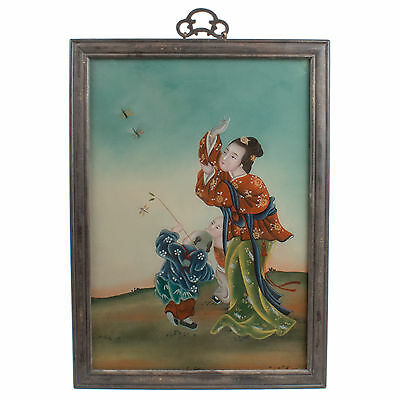 China 20. Jh. Hinterglasmalerei - A Chinese Reverse Painting on Glass - Chinois