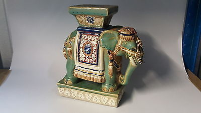 Chinese Cantonese vintage Art Deco oriental green elephant pot stand / figurine