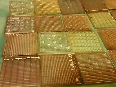 Luxfer Prism Glass tiles, mixed lot of 22. Snowflake, Tear drop and more
