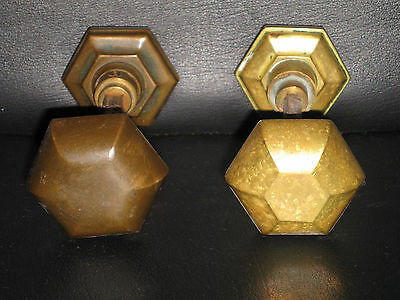 2 Pairs of Vtg Brass Bronze Door Knobs