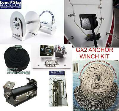 Anchor Winch GX2 Lone Star 1000W 250mm Drum 150m Rope Chain+Topshot upto 8m Boat