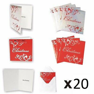 20 Pack of Silver Red Christmas Cards Gift Cards With Envelopes