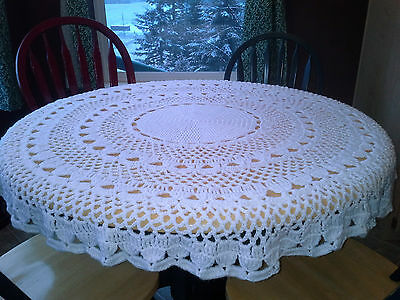 Hand Made Crocheted Round White Table Cloth Cover Acrylic Shell Pattern Washable