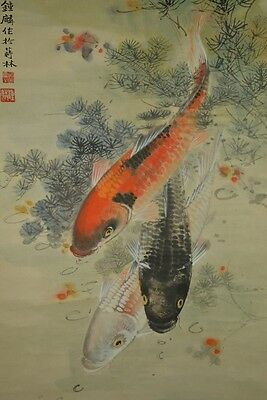 Carp Chinese Painting Hanging Scroll Colored Picture China Asian art Paint y41
