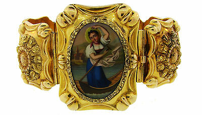 Victorian ENAMEL YELLOW GOLD BRACELET 1900s French Exquisite