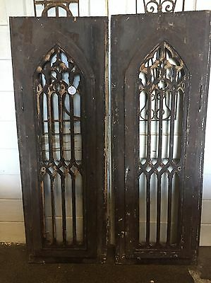 Pair Of Antique Arched Gothic Salvaged Architectural Wood Window