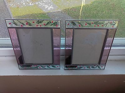 lot of 2 Vintage CARR Leaded Stained Glass Photo Picture Frame rose pedal pink