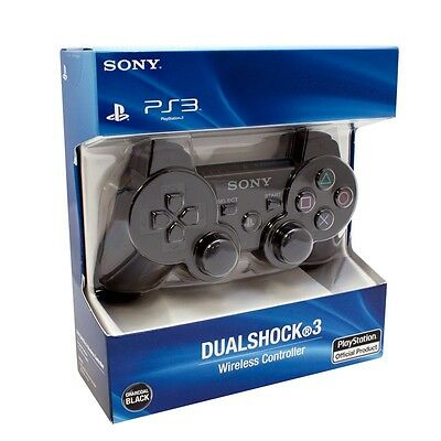 Sony Playstation 3 Ps3 Dualshock Wireless Controller-Black With Retail Box+Usb
