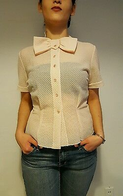 Vintage Pink Sheer Blouse with Bow/1950s/Size M