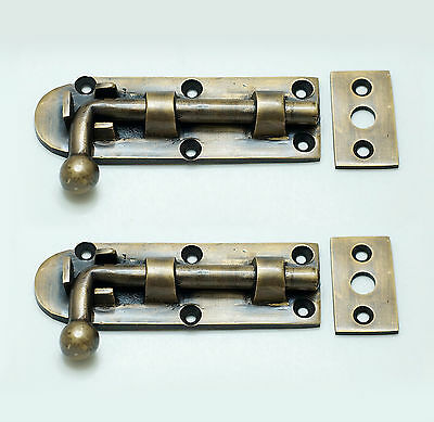 "3.66"" Inches 2 pcs VINTAGE Gate Door Latch Slot Solid Brass Door Safe Latch Lock"
