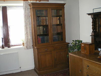 Antique Solid Oak Victorian Cabinet Bookcase  circa 1880