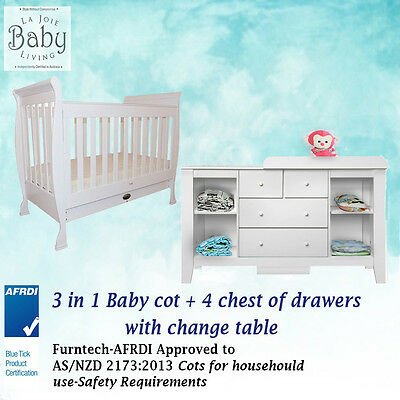 Baby Cot 3 in 1 + 4 Drawer Baby Chest Change Table White Value Bundle