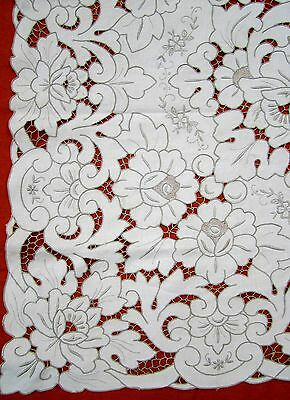 "Antique fine Linen cutwork embroidered tablecloth 96"" x 59"""