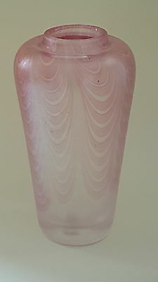 Sanders and Wallace pink iridescent ribbon trailed glass shouldered vase A