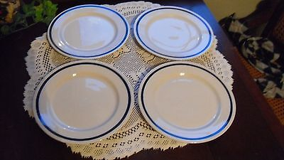 "VINTAGE SYRACUSE CHINA 8"" PLATES  WHITE AND BLUE RING - SET OF 4 - 1940-50s"