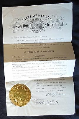 1941 ORIGINAL DOCUMENT *Nevada* POLICEMAN PEACE OFFICER*Western Pacific Railroad