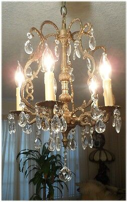 Vintage French 5 Arm 5 Lite Brass Petite Birdcage Prisms Chandelier