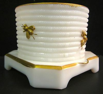 Vintage Imperial White Milk Glass Gold Decorated Bees Honey Pot Jar  NO LID