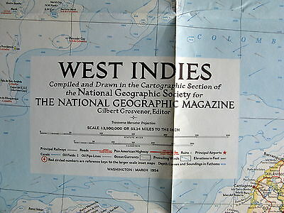 West Indies National Geographic Map / Poster March 1954