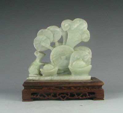 Chinese old jade carved two mouse pull wealth Yuanbao figure free stand S070