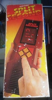 vintage 1980s SPLIT SECOND handheld ELECTRONIC GAME by PALITOY boxed
