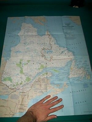 Large Vintage National Geographic Map Quebec & Newfoundland Canada Double Sided