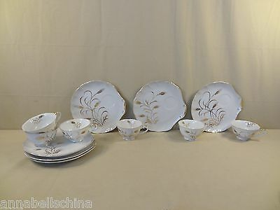 "Lefton China ""Golden Wheat"" 6 Snack Plates & 6 Cups"