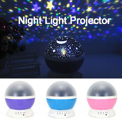 Star Moon Sky Starry Night Light Projector LED Lamp For Kids Baby Bedroom Gift