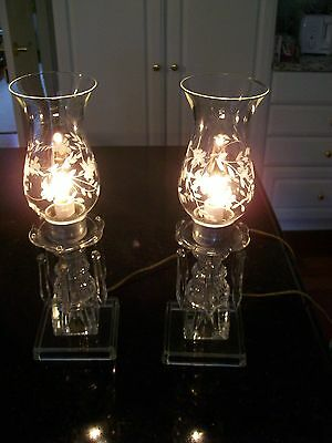 Pair~ 2 ANTIQUE Crystal Clear Glass & PRISM Electric HURRICANE TABLE LAMPS~13""