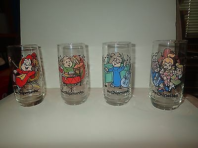 Alvin And The Chipmunks Collector Glasses Complete Set Of 4  Vintage 1985