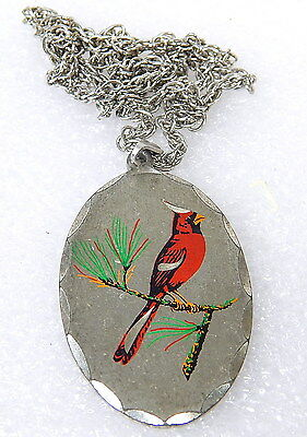 vintage cardinal bird pewter necklace pendant signed by Blackinton