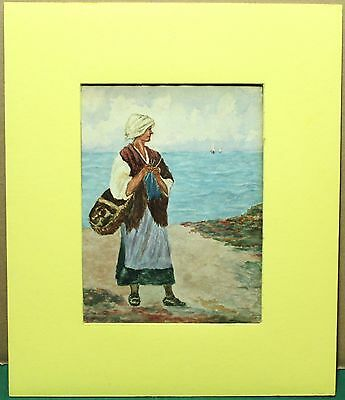 Antique Matted Watercolour On Paper - European Woman By Water - Not Signed