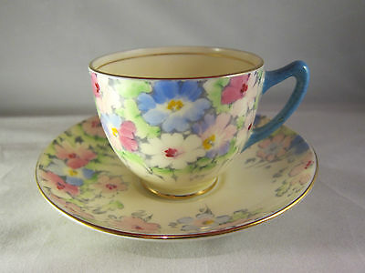 CROWN STAFFORDSHIRE Fine Bone China Tea Cup and Saucer  FLORAL F14521