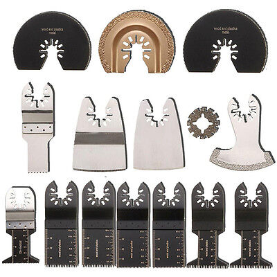 15 Pcs Blade Kit For ROCKWELL SONICRAFTER WORX Oscillating Multitool Accessory