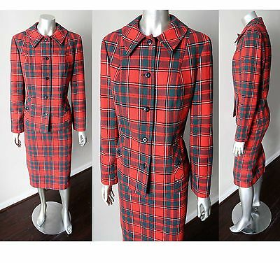 Pendleton VTG 70s 80s Tartan Plaid Wool Pencil Skirt Red Green Jacket Suit Sz M