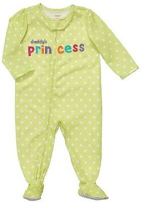 """Carter's Girls 2T 3T 4T """"Daddy's Princess"""" Polyester Jersey Footed Pajama NEW"""
