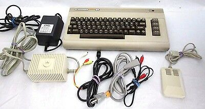 Vintage Commodore 64 Computer Keyboard Mouse Cords Power Supply